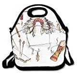Marvin Conrad Ethnic Tomahawk Tribal Native Chef Dreamcatcher Feather Old World Motifs Lunch Bag Tote For School Work Outdoor