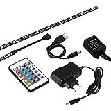 kwmobile TV Hintergrundbeleuchtung USB RGB LED Band, 4x50cm, Backlight Entertainment Beleuchtung in Schwarz, selbstklebende LED Leisten inkl. IR Fernbedienung und Netzteil