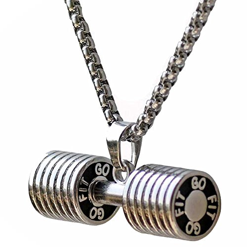 Men's Stainless Steel Fitness Gym Dumbbell Weight Lifters Barbell Chain Pendant Necklace Silver