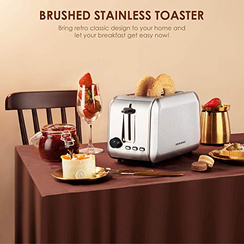 REDMOND 2 Slice Toaster, Stainless Steel Toaster with Bagel, Defrost, Cancel Function, Extra Wide Slots, 7 Bread Shade Settings, 750W, ST213