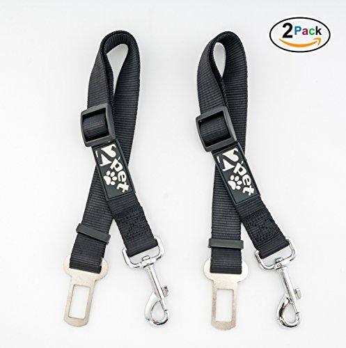 2PET Dog Seat Belt Strap – Adjustable for All Breeds – Universal Fit Seatbelt Latches – Choose Color (Month Belt Buckle)