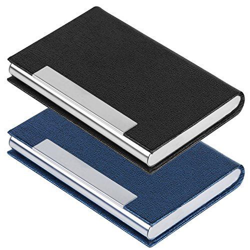 2 PCS Business Name Card Case, SENHAI PU Leather and Stainless Steel ID Card Holder for Men and Women with Magnetic Shut, Keep Cards Clean (Black, Blue) ()