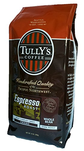 Tully's Coffee Espresso Roast, Whole Bean, Dark Roast, 12-Ounce Bags (Pack of 2)