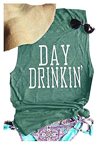 (MK Shop Limited Women's Day Drinkin' Casual Tank Funny Letters Print Vest T-Shirt (S, Jasper))
