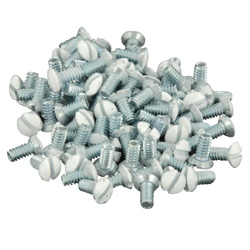 (Leviton 88400-PRT 5/16-Inch Long 6-32 Thread, Oval Head Milled Slot Replacement Wallplate Screws, 100-Pack, White)