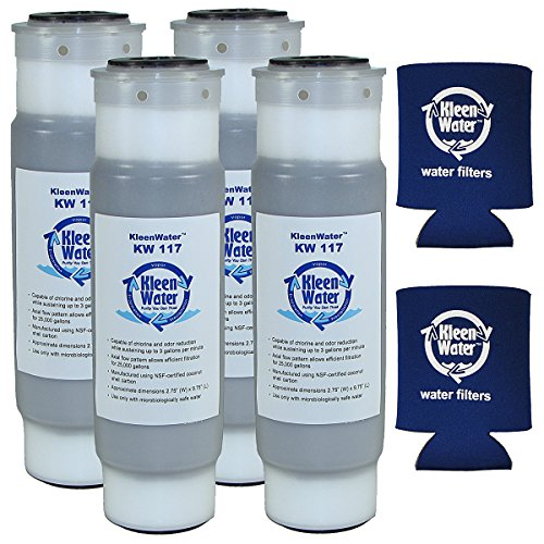 WHKF-GAC and WHCF-GAC Compatible 2.5 X 9.75 Inch Granular Activated Carbon Water Filter Cartridges (4) with Genuine KleenWater Can Holders (2)
