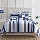 3 Piece Plaid Stripes Pattern Comforter Set Twin Size, High-End Stylish Coastal Nautical Stripe-Inspired Vertical Design, Checkered Printed Reversible Bedding, Vibrant Colors Blue White, For Boys