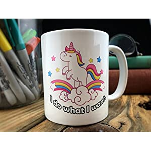 Unicorn Rainbow Mug – I Do What I Want – Sassy Gift for Friend – Humorous present for Wife, Girlfriend – Novelty Cup for…