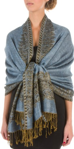 "70 x 28"" Border Pattern Double Layer Woven Pashmina Shawl / Scarf / Wrap / Stole - Steel Blue"""