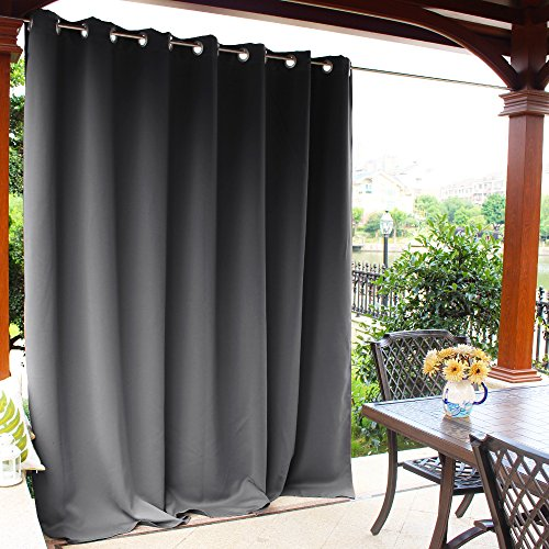 NICETOWN Outdoor Curtain Panel Patio - Grommet Top Thermal Insulated Extra Wide Blackout Outdoor Curtain/Drape Gazebo/Front Porch (Grey, Sold Individually, 100 inch Wide 95 inch - Insulation Extra