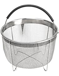 Stainless Steel Steamer Basket with handle for Instant Pot Accessories 6qt 8qt Pressure Cooker, Made by Kaviatek