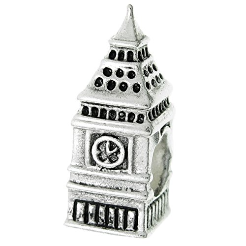 .925 Sterling Silver London Big Ben Clock Tower Travel Bead For European Charm Bracelet by Unknown