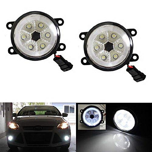 Navigator Halo Projector Lincoln - iJDMTOY Xenon White LED Fog Lights For Ford C-Max Explorer Fiesta Fusion Mustang Taurus Nissan Sentra Subaru Legacy Outback w/LED Halo Rings, Each Lamp Powered by 6 Pieces 3W LED Bulbs