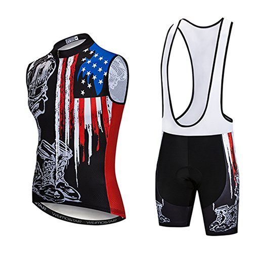Men Cycling Jersey Vests Sleeveless Bike Shirts MTB Bicycle Clothing Set with Silicone Padded Bib Short Pants USA Flag Black Size 4XL