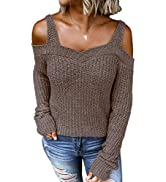 Dokotoo Womens Long Sleeve Cold Shoulder Sweaters Halter Neck Backless Loose Sweater Tops