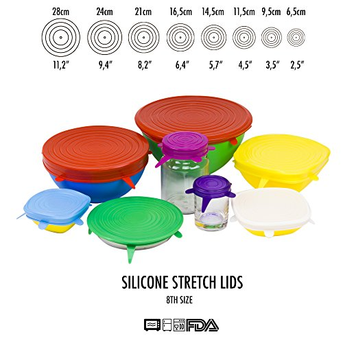 Silicone Stretch Lids (Set of 8 Rainbow Units Various Sizes) Reusable Durable and Expandable Lids, Eco-friendly Lids For Bowls, Mugs, Cans, Plates, Food Saver Covers For Glassware, Universal Lids