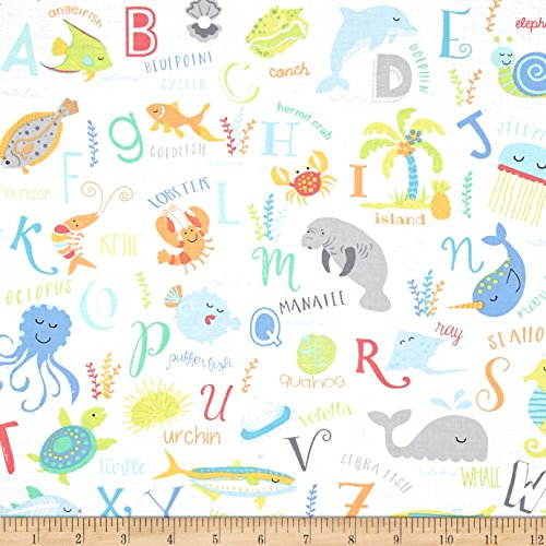 Timeless Treasures ABC's Under The Sea Sea Animal Alphabet White Fabric By The Yard