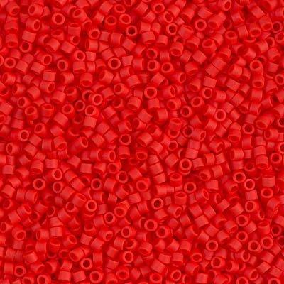 Miyuki Delica 11/0 Cylinder Seed Beads - Matte Op Vermillion Red - DB0757 5 grams Delica Matte
