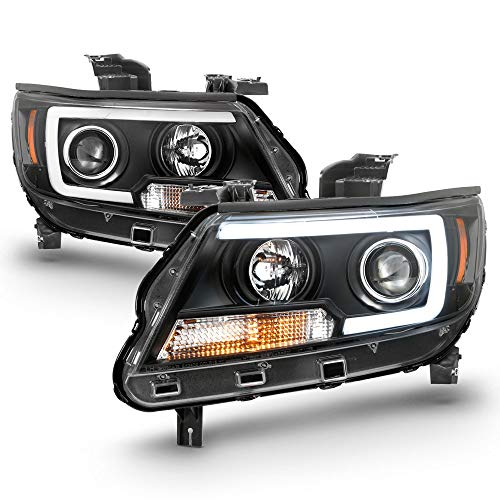 ACANII - For 2015-2019 Chevy Colorado Pickup Truck LED Tube Black Projector Headlights Headlamps, Driver & Passenger