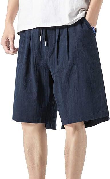 VPASS Pantalones Hombre Verano Casuales Moda Deportivos Algod/ón y Lino Pants Cortos Color s/ólido Jogging Pantalon Fitness Suelto Pantalones Corto Pantalones Ropa de Hombre
