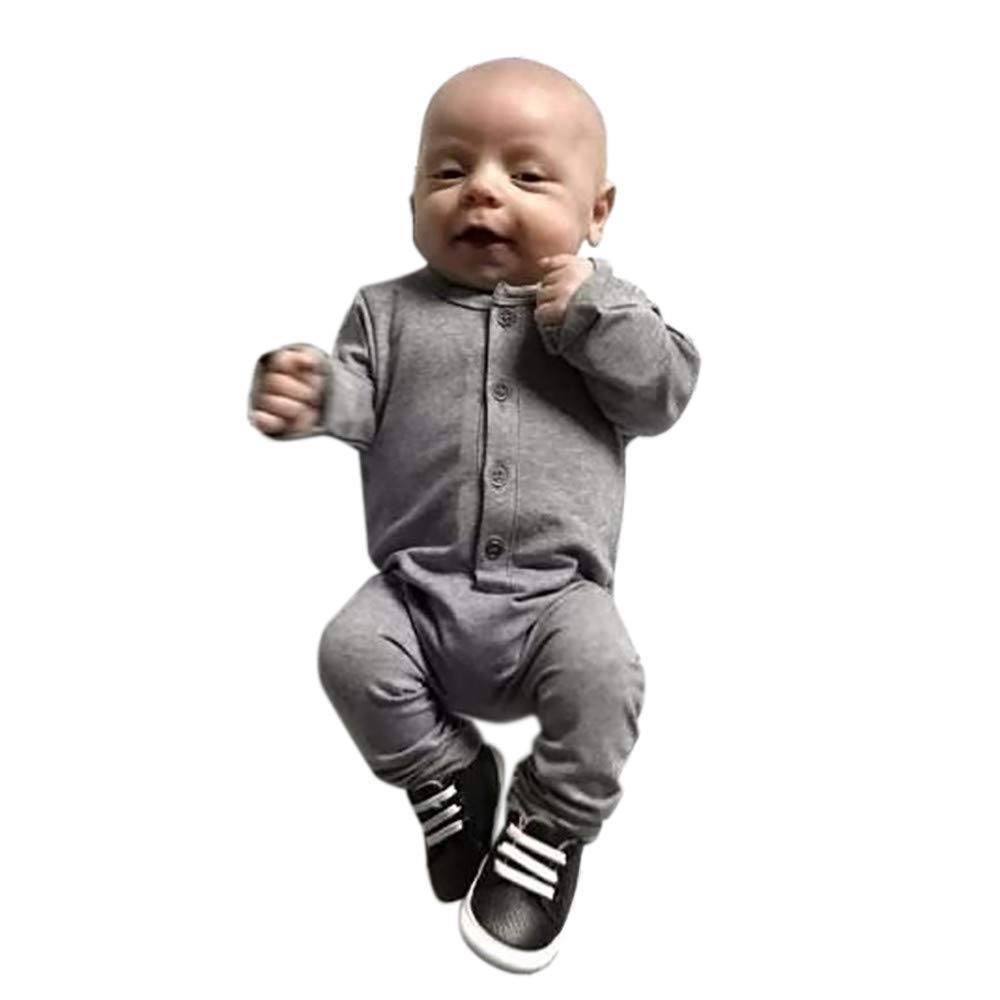 Newborn Baby Boys Girls Button Pure Color Romper Jumpsuit Outfits Set Baby Boys Clothing