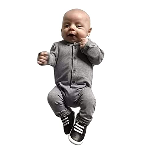 1885a713f Amazon.com: 0-24 Months Newborn Baby Boys Girls Romper, Cotton Button Solid  Jumpsuit One Peice Pajamas Sleepwear Clothes Outfits Set: Clothing