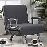 HomCom 5 Position Folding Sleeper Chair - Grey