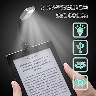 Gocheer Lampara de Libro, Luz de Lectura Recargable con 3 Modos de ...