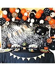 120 PCS Halloween Balloon Arch Garland Kit, Black Orange Confetti Balloons with Mylar Spider Balloon for Kids Halloween Theme Party Halloween Bar Home Party Decor Supplies