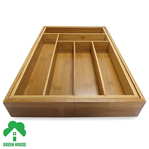 -[ Bamboo Extending Cutlery Drawer Tray With Adjustable Compartments Green House  ]-