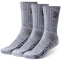 3 Pairs Buttons & Pleats Premium Merino Wool Hiking Socks