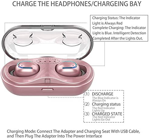 Wireless Earbuds Woman Girl with Bluetooth Headset Charging Case,CVC8.0 30H Playing Time IPX8 Waterproof Headphones Mic Compatible iPhone iPad Samsung,Headset for Sport Pink and Rose Gold Earphone