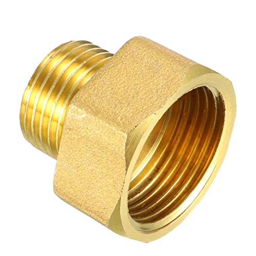 uxcell Brass Pipe Fitting, Adapter, 1/2 PT Male x 3/4 PT Female Coupling ()