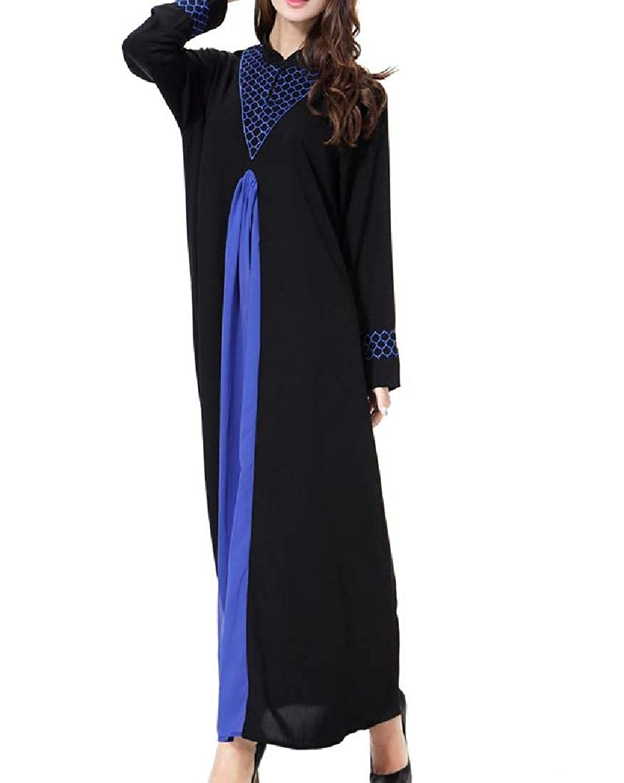 Vska Women Plus-Size Muslim Gown Loose Turkish Style Kaftan Maxi Dress