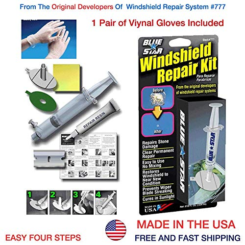 (Blue Star Windshield Do It Yourself Windshield Repair Kit Resin, Glass Repair KIT Stone Damage CHIP Model # 777 Prevent Stone Damage Repair Made in USA +1 Pair(2 Gloves) of Vinyl Disposable Gloves)