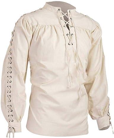 Traje Medieval renacentista para Hombre, Camisa de Manga Larga con Cuello Alto Vintage: Amazon.es: Ropa y accesorios