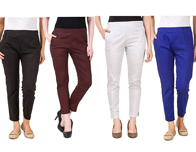 Buy Rzlecort Trousers Pencil Cigarette Pant For Women S Girl S Pack Of 4 At Amazon In