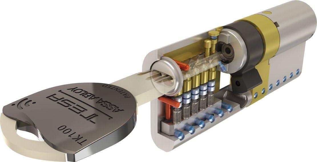Tesa Assa Abloy TK153030L - Cilindro de Alta Seguridad, TK100, Doble Embrague, Leva Larga, Latonado, 30 x 30 mm
