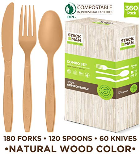 Stack Man Disposable Cutlery Set [360 Pack] 100% Compostable Plastic Silverware, Large Premium Heavy-Duty Flatware Utensils Eco Friendly BPi Certified 7.5 Inch Natural Wood Color Tableware