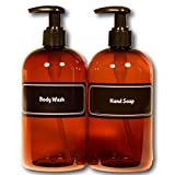 Bottiful Home-16 oz Refillable Durable Translucent Amber PET Plastic Body Wash & Hand Soap Pump Bottles-B&W Pre-Applied Fully Waterproof Labels-100% Rust-FREE, Clog-FREE, Drip-FREE