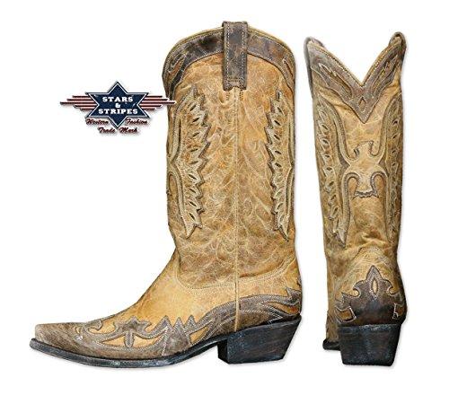 Étoiles Et Rayures Bottes De Botte De Cowboy En Cuir Véritable Unisexe Wb -19 Brun / Beige Restposten