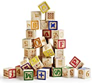 SainSmart Jr. Wooden ABC Blocks 40PCS Stacking Blocks Baby Alphabet Letters, Counting, Building Block Set with