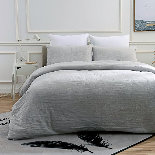 Neithera Duvet Cover Set Light Grey,2-Piece Nature Style Water-washed Microfiber Bedding Set With Zipper and corner Ties(Twin)