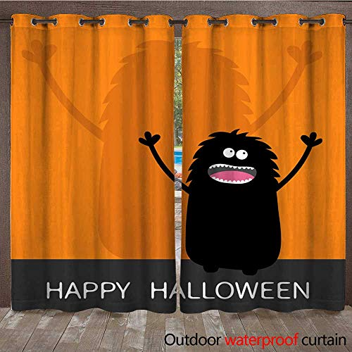 RenteriaDecor 0utdoor Curtains for Patio Waterproof Happy Halloween Screaming Monster Silhouette Looking up Wall Shadow Shade Two Eyes Teeth Tongue Spooky Hands Black Funny W72 x L84]()