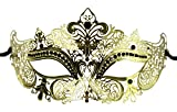 Luxury Mask Women's Laser Cut Metal Venetian Masquerade Crown Mask Ball Prom Mardi Gras , Gold/Black Stones, One Size