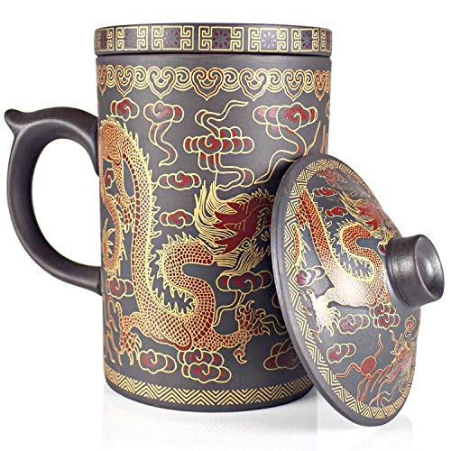 25DOL Chinese Tea Mug with Infuser and Lid 10Oz | Chinese Yixing Purple Clay Mug | Chinese Mug with Lid | Chinese Dragon Mug | Chinese Tea Infuser Mug | Travel Mug | Retain Heat very well ()