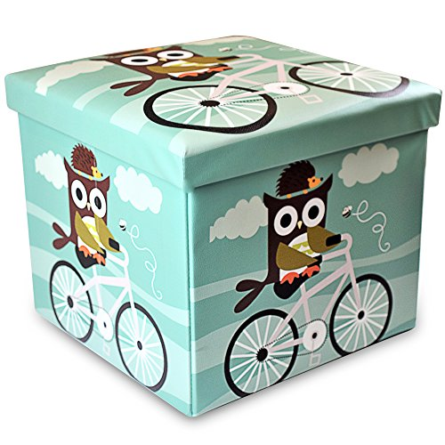 Stuff n Sit Kids Toy Storage Ottoman Folding Trunk Toy Chest For Kids Owl Decor Unisex Large 15'x15