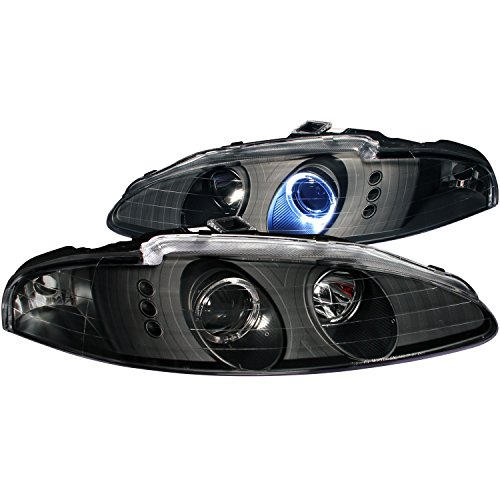 Halo Mitsubishi Projector Eclipse 96 - AnzoUSA 121367 Black/Clear/Amber Halogen Projector Headlight for Mitsubishi Eclipse