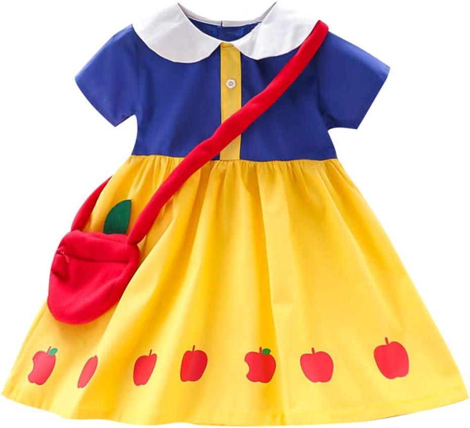 Disfraces para niñas, niños pequeños Ropa para bebés niñas Vestido de princesa con estampado de manga corta + conjunto de bolsos amarillo 2-3 años, vestidos para bebés recién nacidos