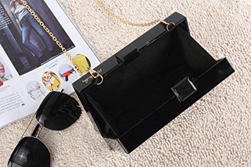 Shiratori Filles Main Embrayage Sac Sac Lucite à Partie rectangulaire Noir Acrylique de Soirée Femme qHZwIH